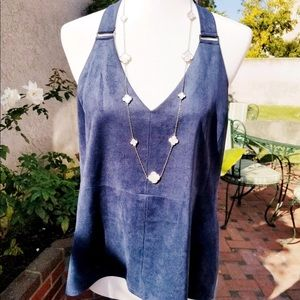BCBG Suede Blue Halter Top